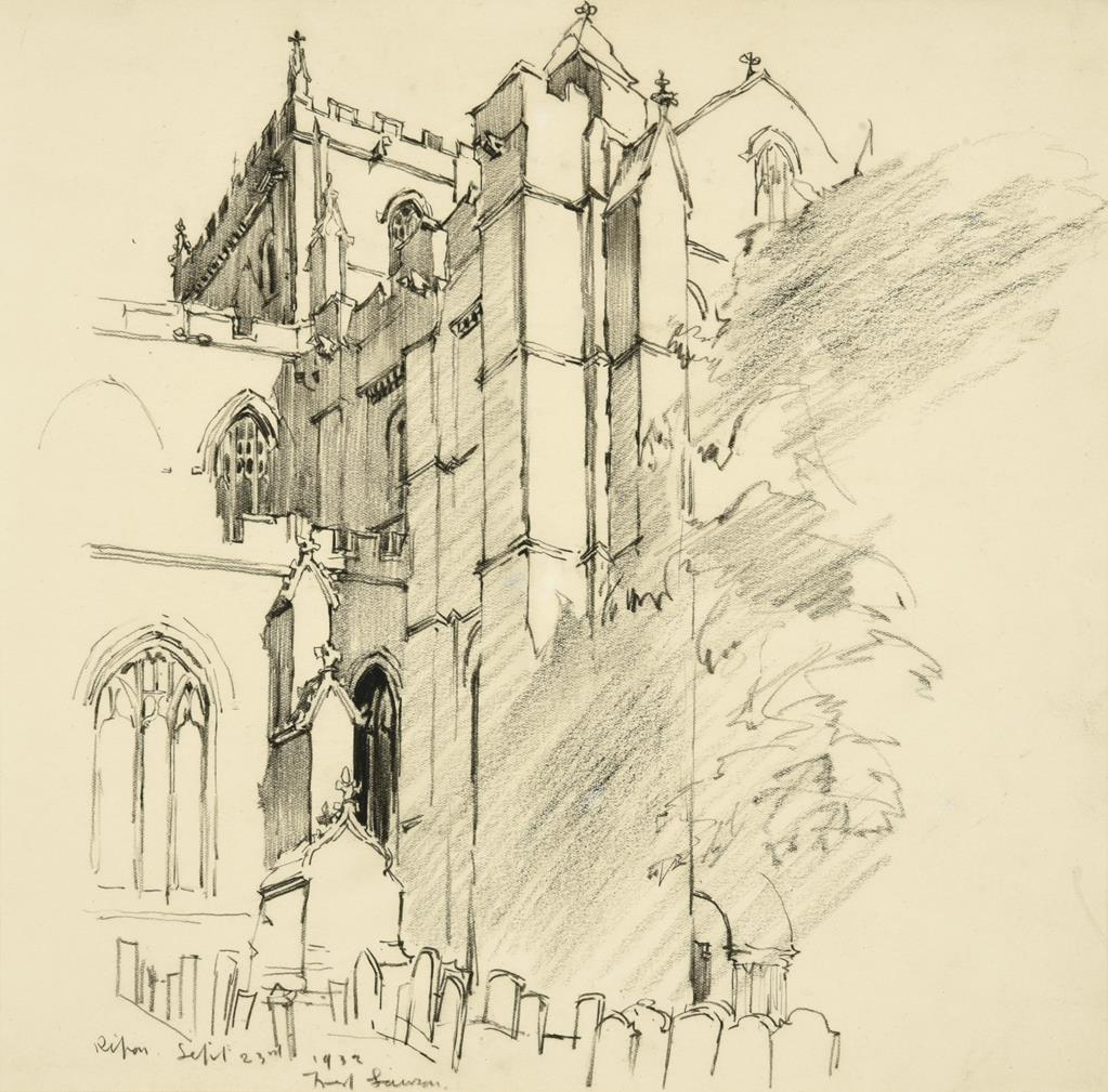 Frederick (Fred) Lawson (1888-1968) ''Bolton Castle'' Signed, inscribed and dated June 1936, - Image 2 of 2