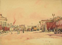Frederick (Fred) Lawson (1888-1968) ''Leyburn'' Market Place Signed, inscribed and dated 1934, ink