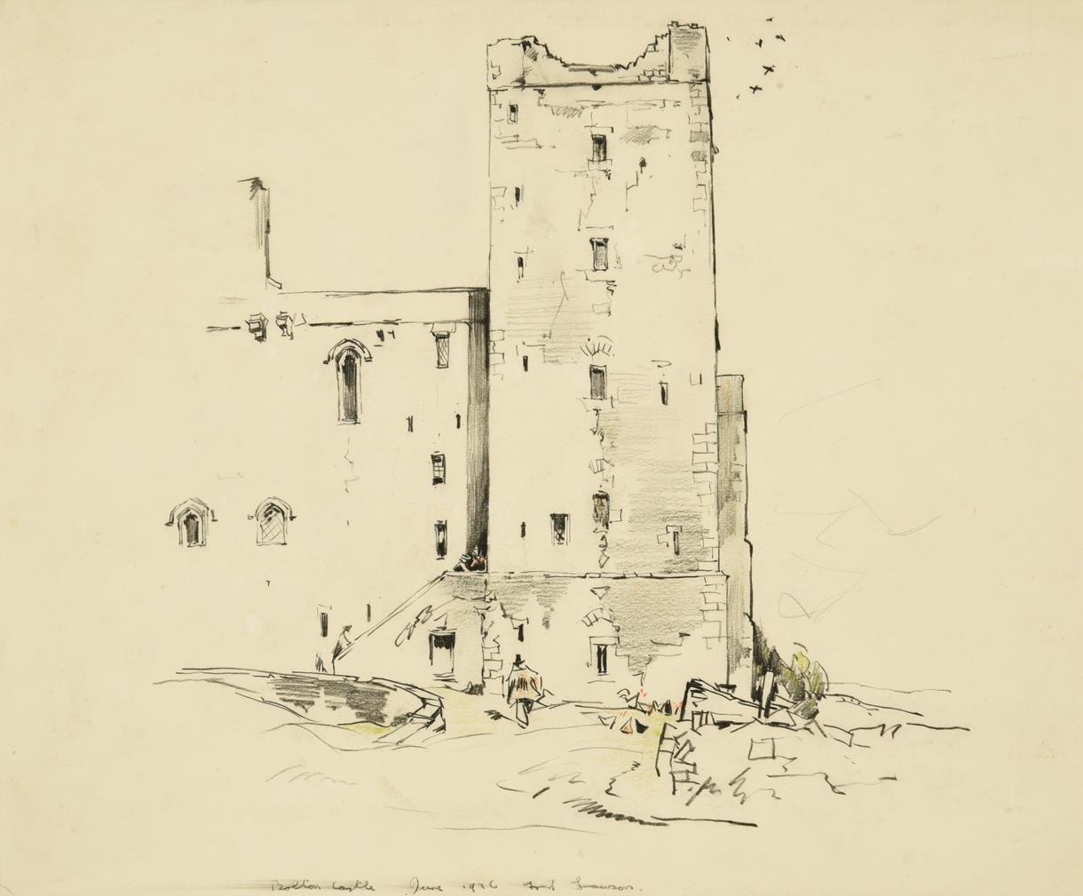 Frederick (Fred) Lawson (1888-1968) ''Bolton Castle'' Signed, inscribed and dated June 1936,