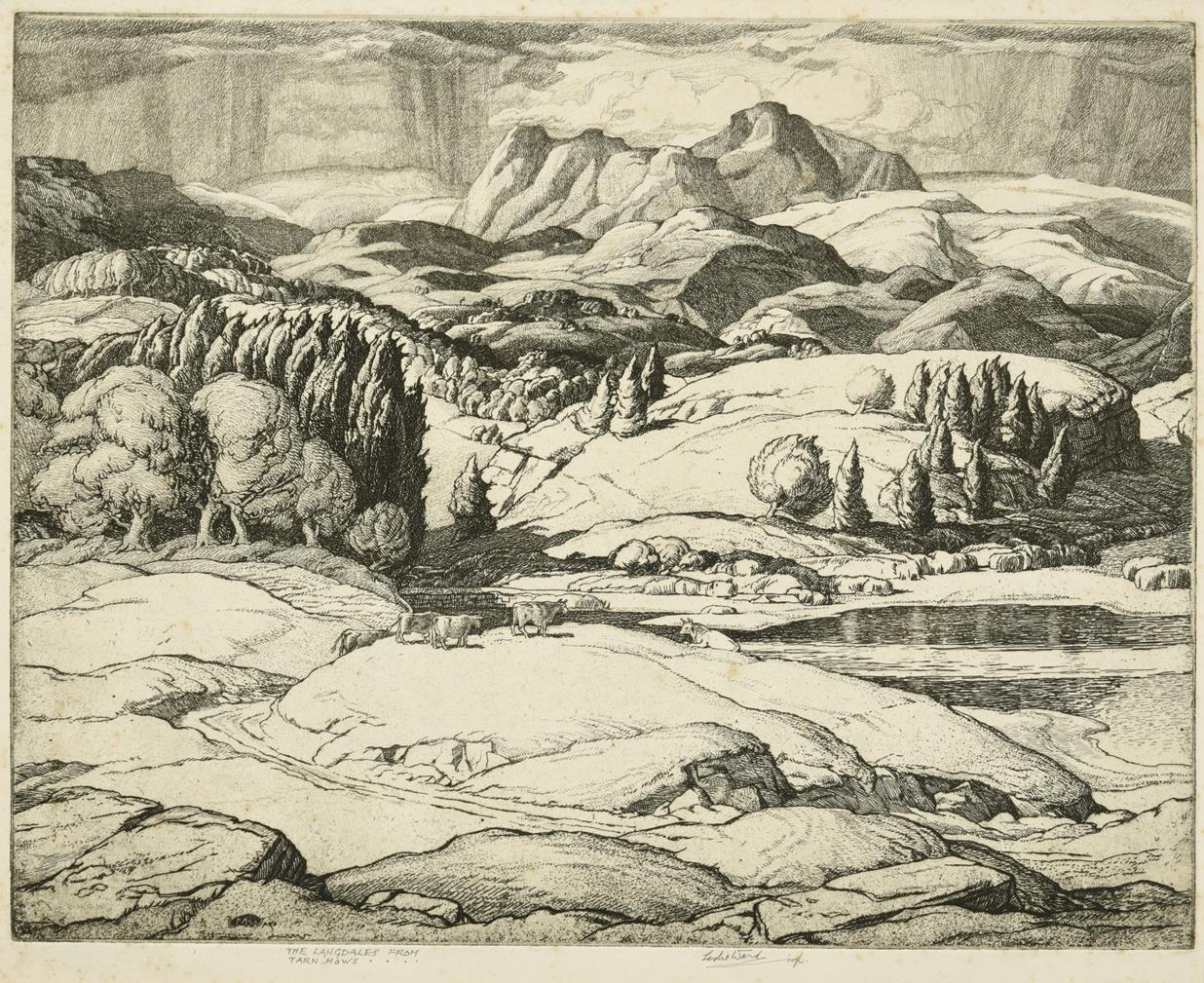 Sir Leslie Matthew Ward (1851-1922) ''The Langdales from Tarn Hows'' Signed and inscribed in pencil,