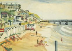 Janet Rawlins (b.1931) Beach scene Signed and dated 1954, mixed media, 25cm by 35.5cm Artist's