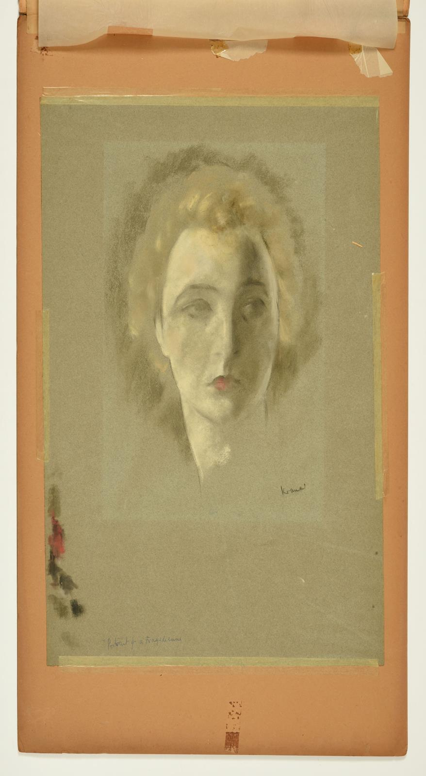 Jacob Kramer (1892-1962) ''Portrait of a Tragedienne'' Signed, inscribed with the title in biro in - Image 2 of 2