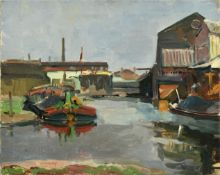 Philip Naviasky (1894-1983) Docklands with barge Signed, oil on canvas, 40cm by 50.5cm (unframed)