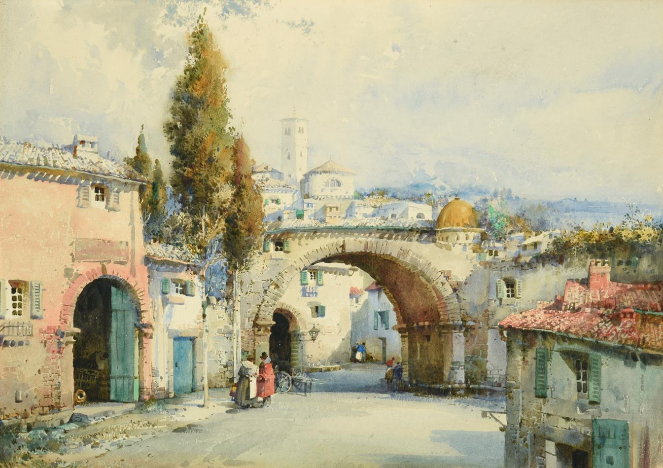 Noel Harry Leaver ARCA (1889-1951) Figures at an Italian town gateway Watercolour, together with a