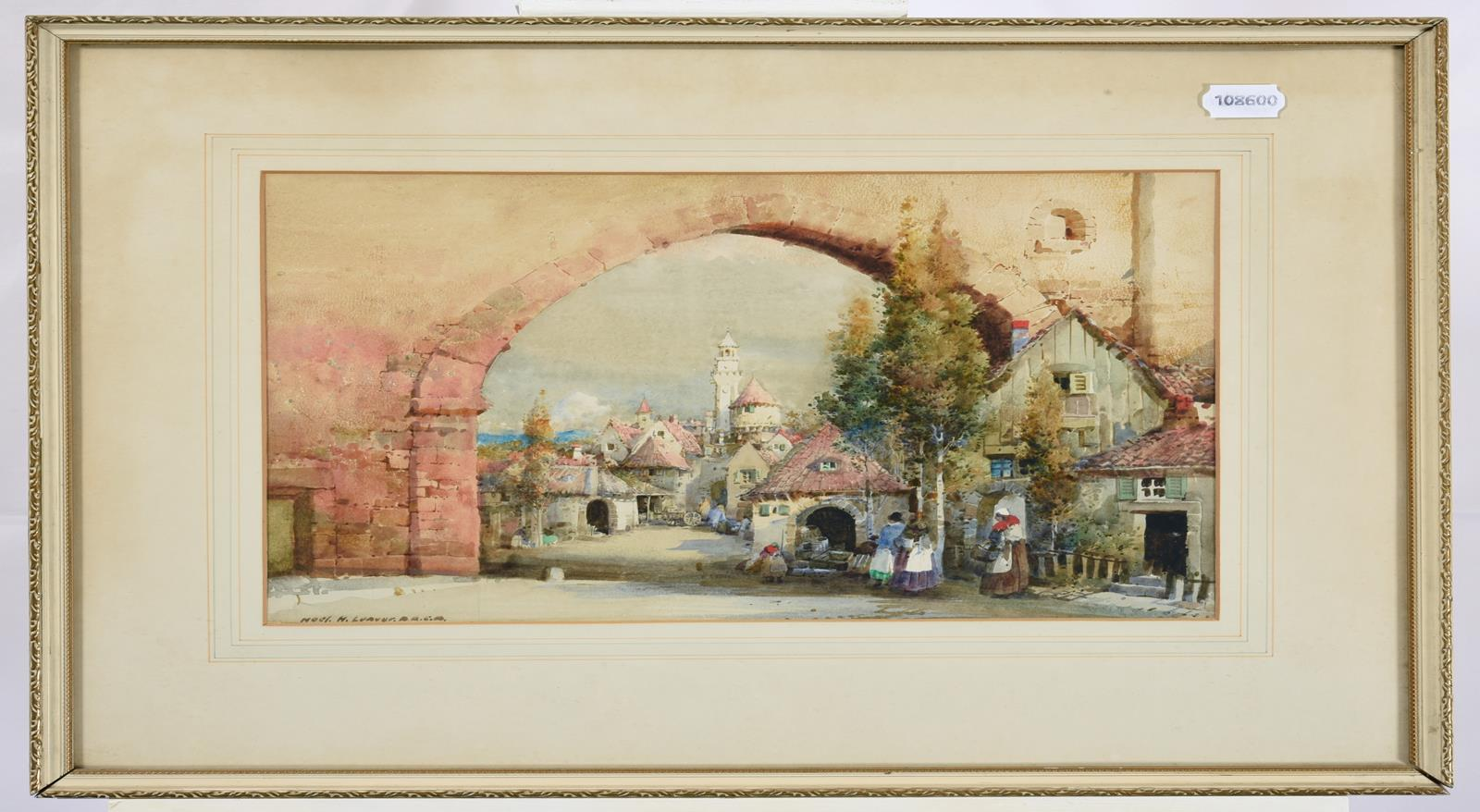Noel Harry Leaver ARCA (1889-1951) Figures at an Italian town gateway Watercolour, together with a - Image 4 of 9