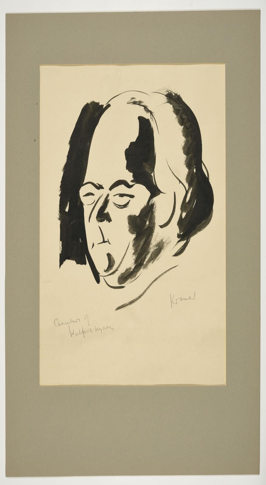 Jacob Kramer (1892-1962) ''Walford Hyden'', half length portrait Signed in pencil, inscribed in ink, - Image 4 of 5