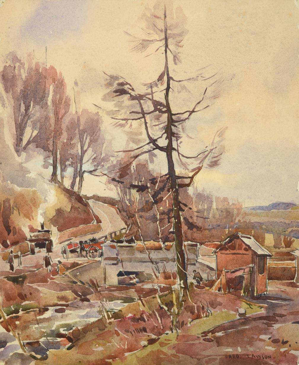 Frederick (Fred) Lawson (1888-1968) Building the New Bridge, Ghyll Beck Woods (1941) Signed,