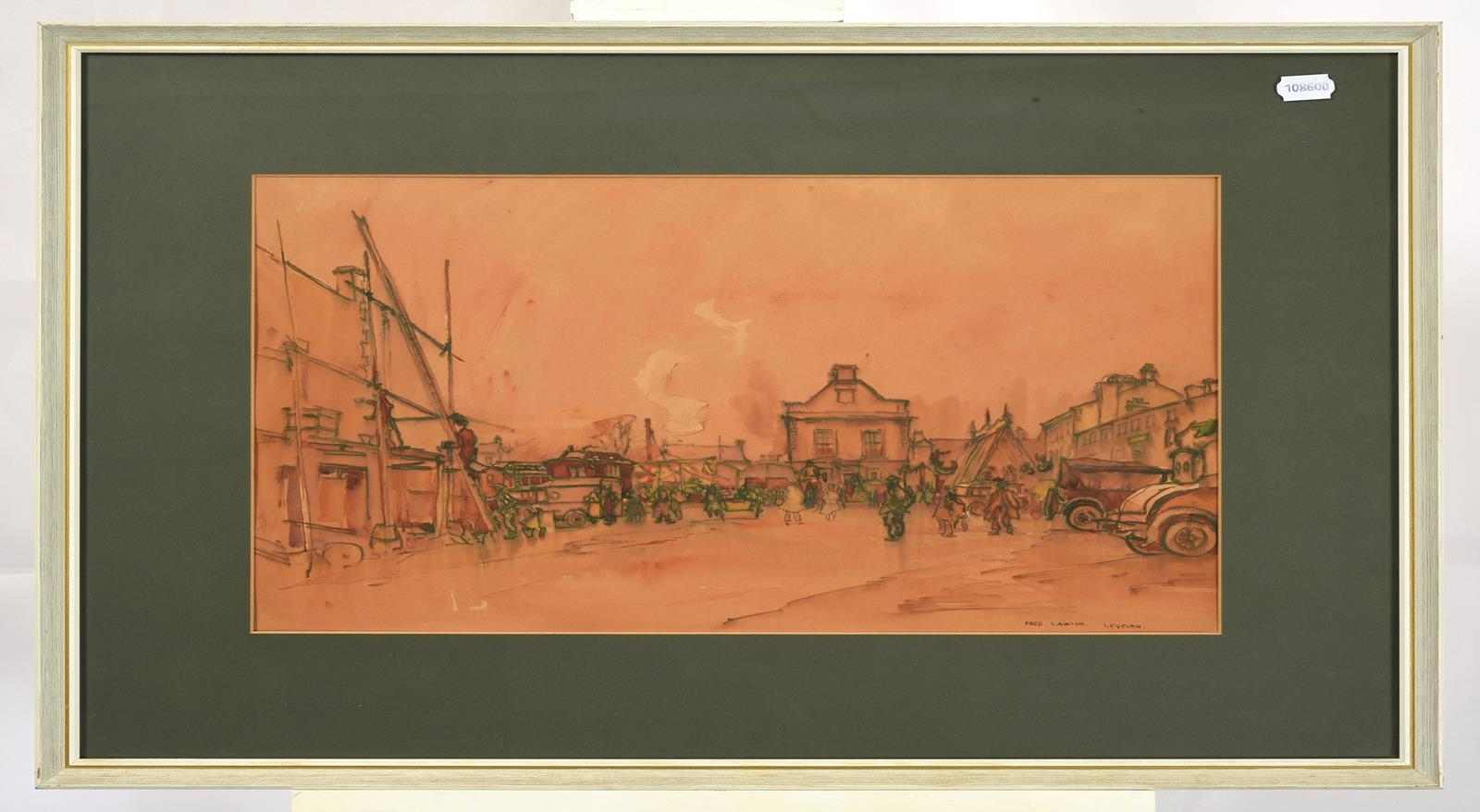 Frederick (Fred) Lawson (1888-1968) ''Leyburn'' Fair Signed and inscribed, ink and watercolour, 35cm - Image 2 of 3