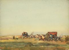 Frederick (Fred) Lawson (1888-1968) Gypsy encampment Signed, pencil and watercolour, 27.5cm by 37.