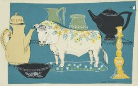 Janet Rawlins (b.1931) ''Bull in a China Shop'' Signed, inscribed verso, collage, 16.5cm by 26cm