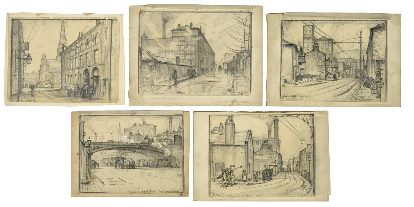 Cuthbert Crossley (1883-1960) ''Pillon Lane Halifax'' Monogrammed, inscribed with title and dated