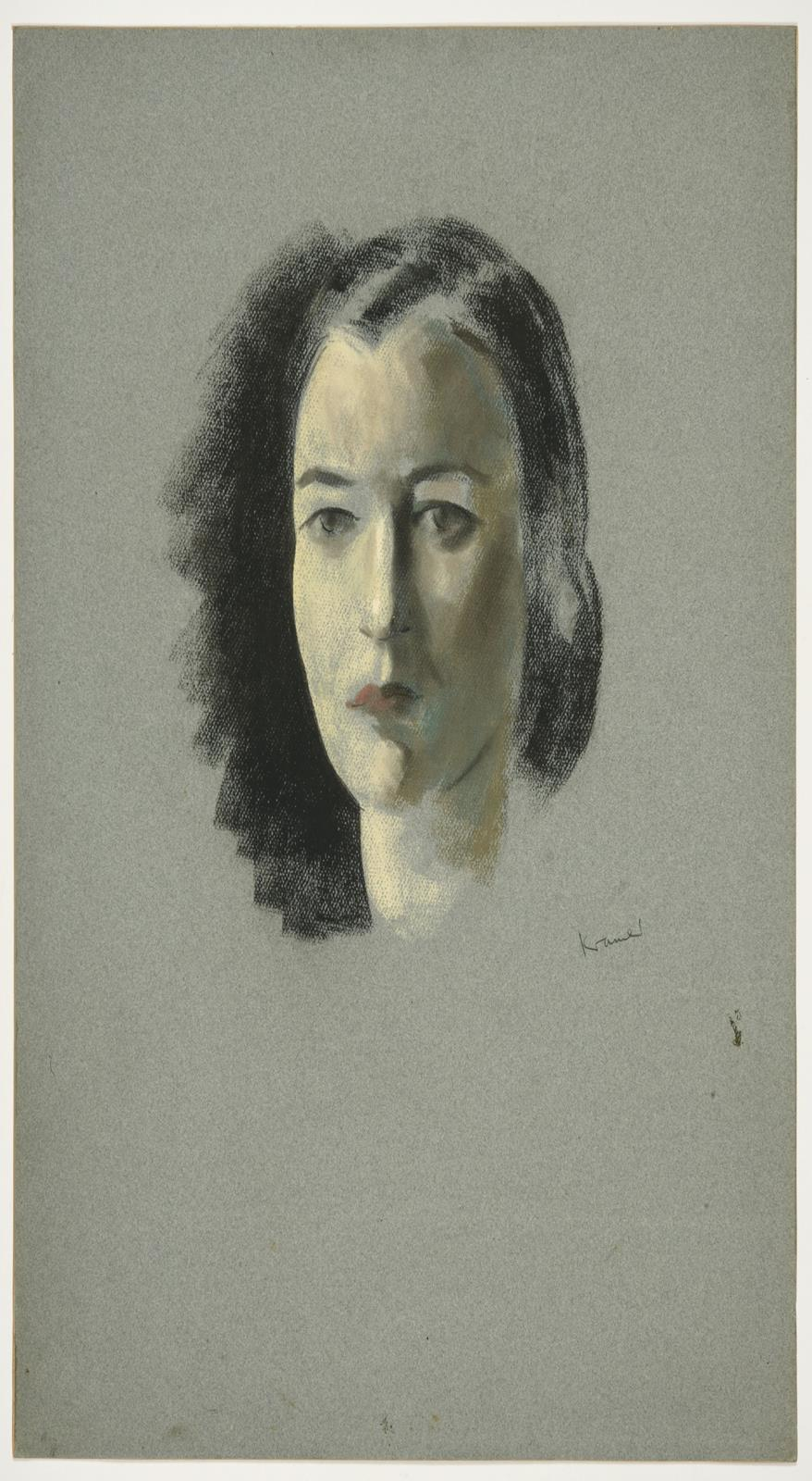 Jacob Kramer (1892-1962) Head study portrait of a lady with black hair worn in a bun Signed, chalk - Image 2 of 2
