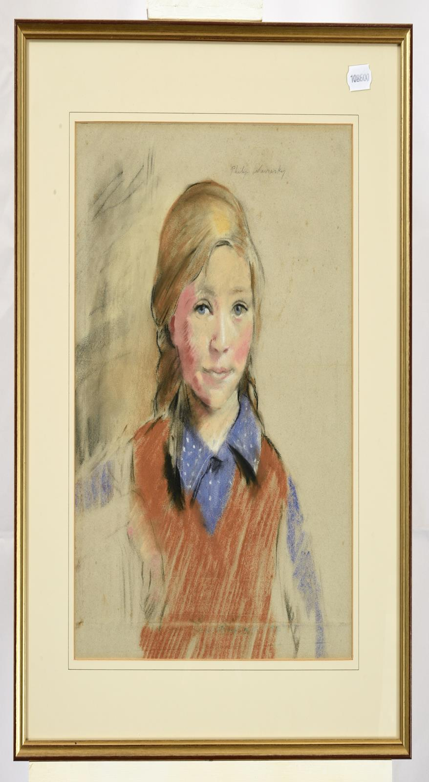 Philip Naviasky (1894-1983) Portrait of a young girl, head and shoulders, wearing a purple spotted - Image 2 of 3