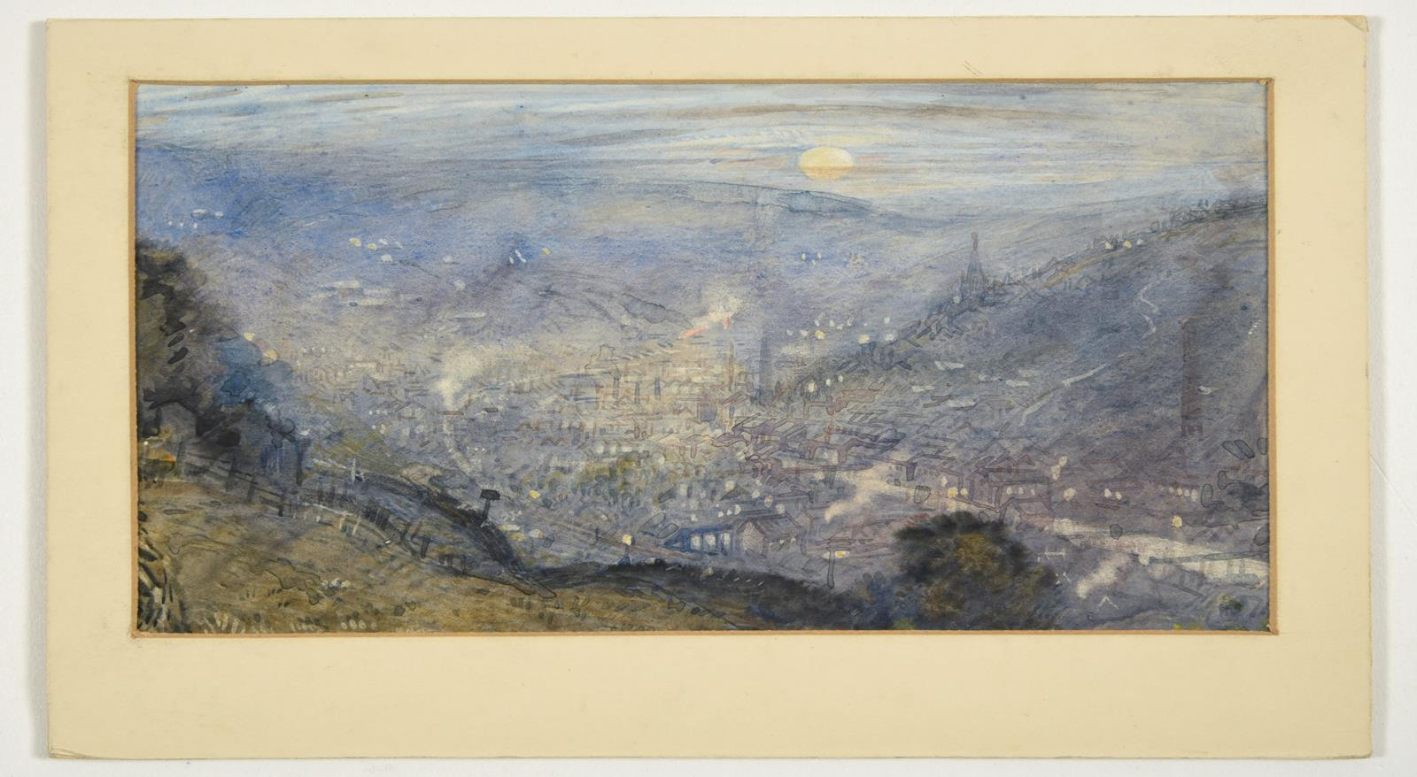 Attributed to Frederick (Fred) Cecil Jones RBA (1891-1966) ''Moonrise Todmorden'' Inscribed and - Image 3 of 4