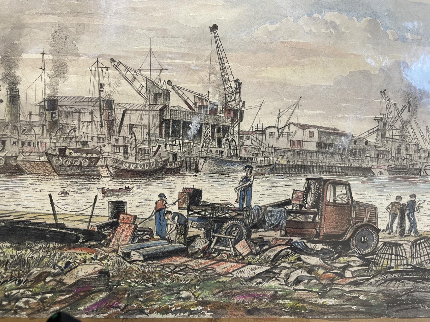 Frederick (Fred) Cecil Jones RBA (1891-1966) ''Heysham'' Signed, inscribed and dated twice 1952 - Image 5 of 5