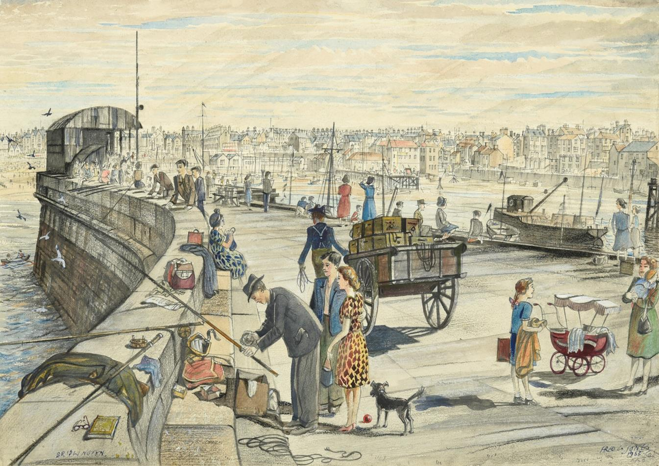 Frederick (Fred) Cecil Jones RBA (1891-1966) ''Bridlington'' Signed, inscribed and dated 1955, mixed
