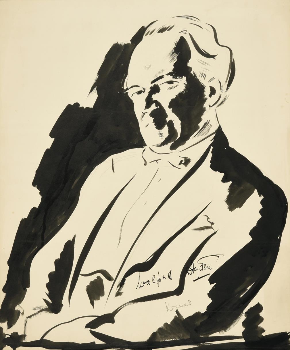 Jacob Kramer (1892-1962) ''Walford Hyden'', half length portrait Signed in pencil, inscribed in ink,