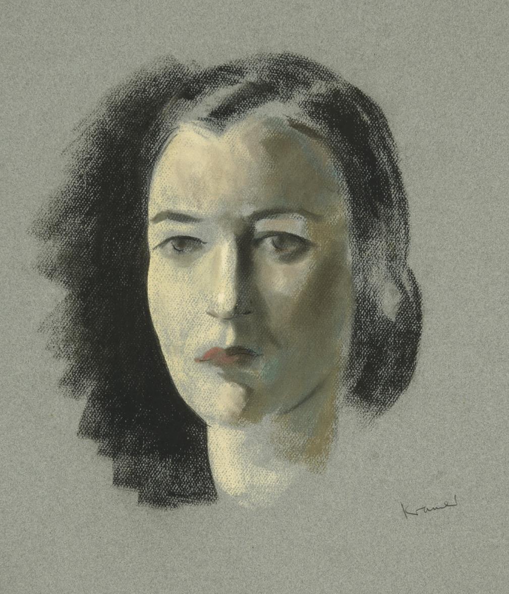 Jacob Kramer (1892-1962) Head study portrait of a lady with black hair worn in a bun Signed, chalk