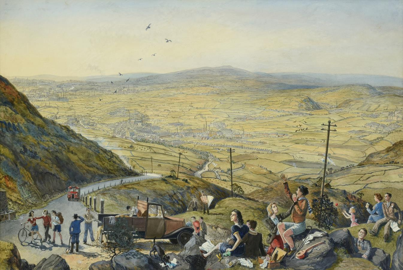 Frederick (Fred) Cecil Jones RBA (1891-1966) ''Above Rochdale'' Signed and inscribed (partially