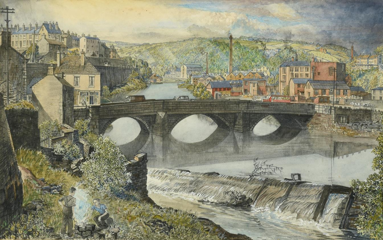 Frederick (Fred) Cecil Jones RBA (1891-1966) ''In the Lower Calder Valley'' Inscribed verso with