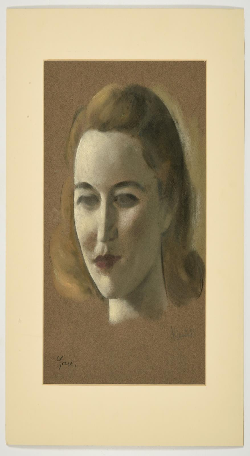 Jacob Kramer (1892-1962) ''Grace'' Signed and inscribed, chalk or pastel on buff paper, 37cm by 25. - Image 2 of 3