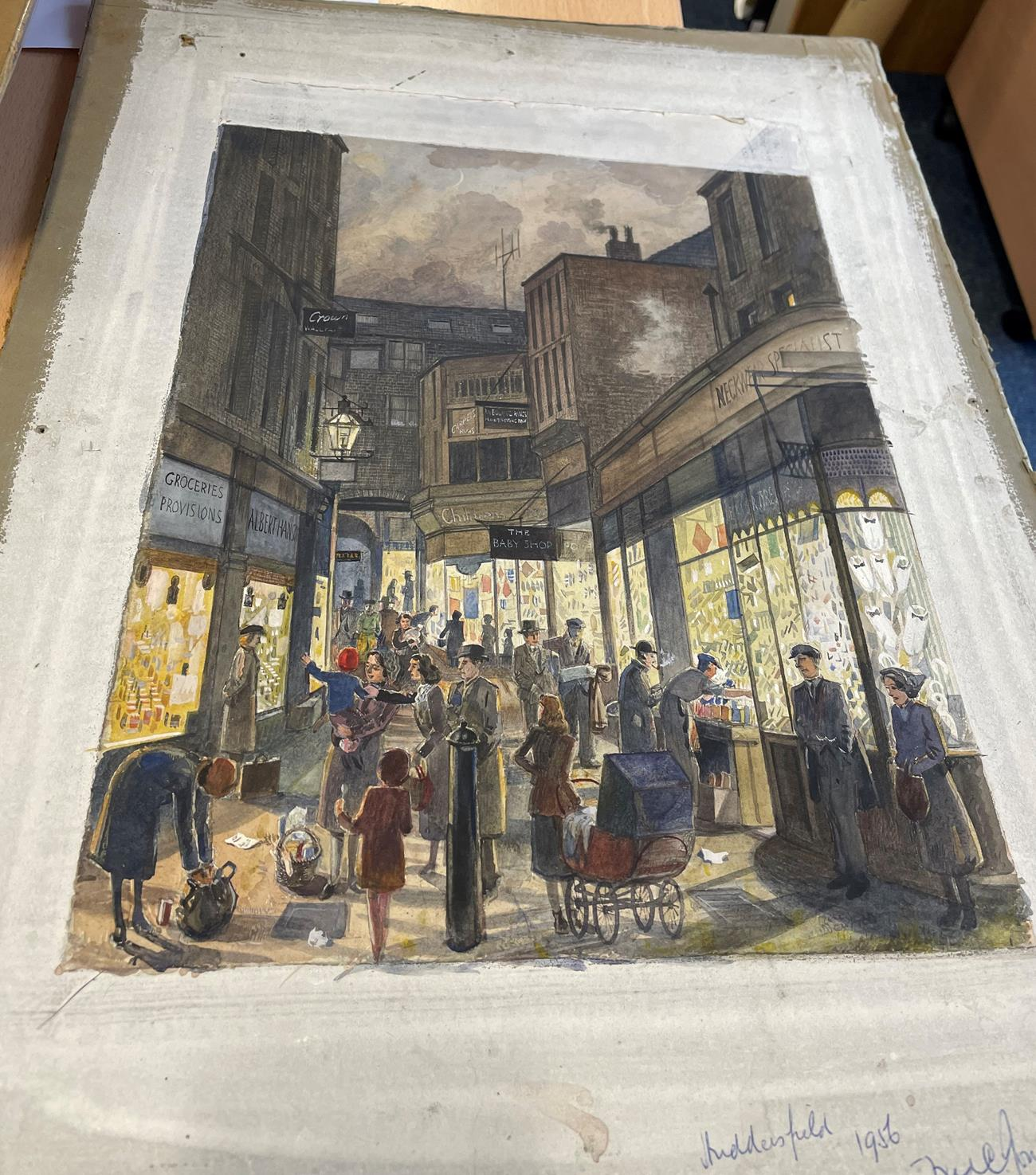 Frederick (Fred) Cecil Jones RBA (1891-1966) ''Huddersfield'' Indistinctly signed, inscribed and - Image 4 of 7