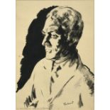 Jacob Kramer (1892-1962) ''A.E. Coppard'', Head and shoulders portrait Signed, inscribed with name