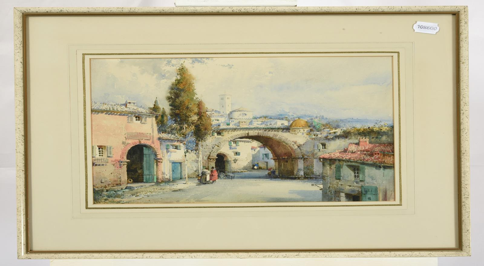 Noel Harry Leaver ARCA (1889-1951) Figures at an Italian town gateway Watercolour, together with a - Image 2 of 9