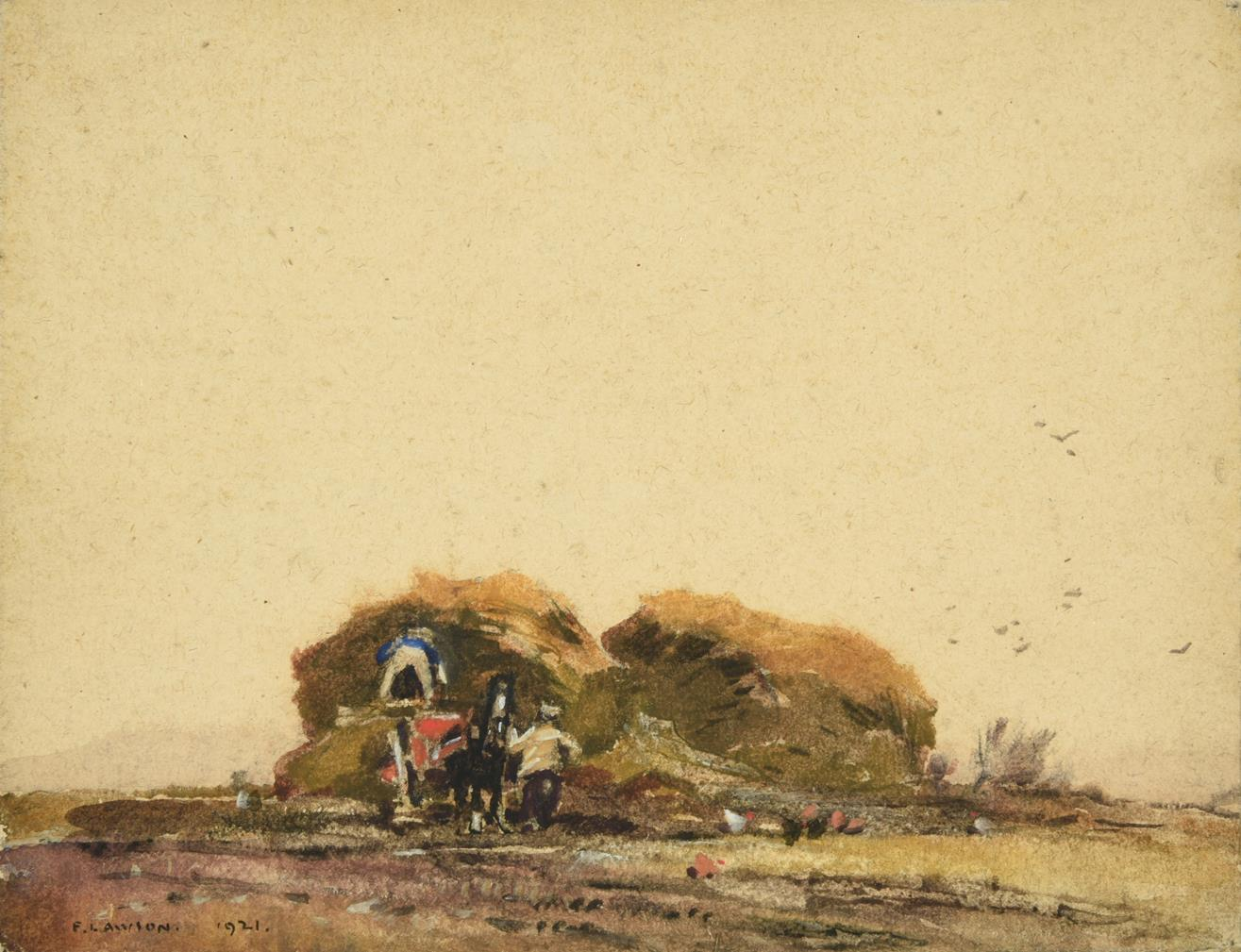 Frederick (Fred) Lawson (1888-1968) Building a hayrick Signed and dated 1921, mixed media, 22cm by