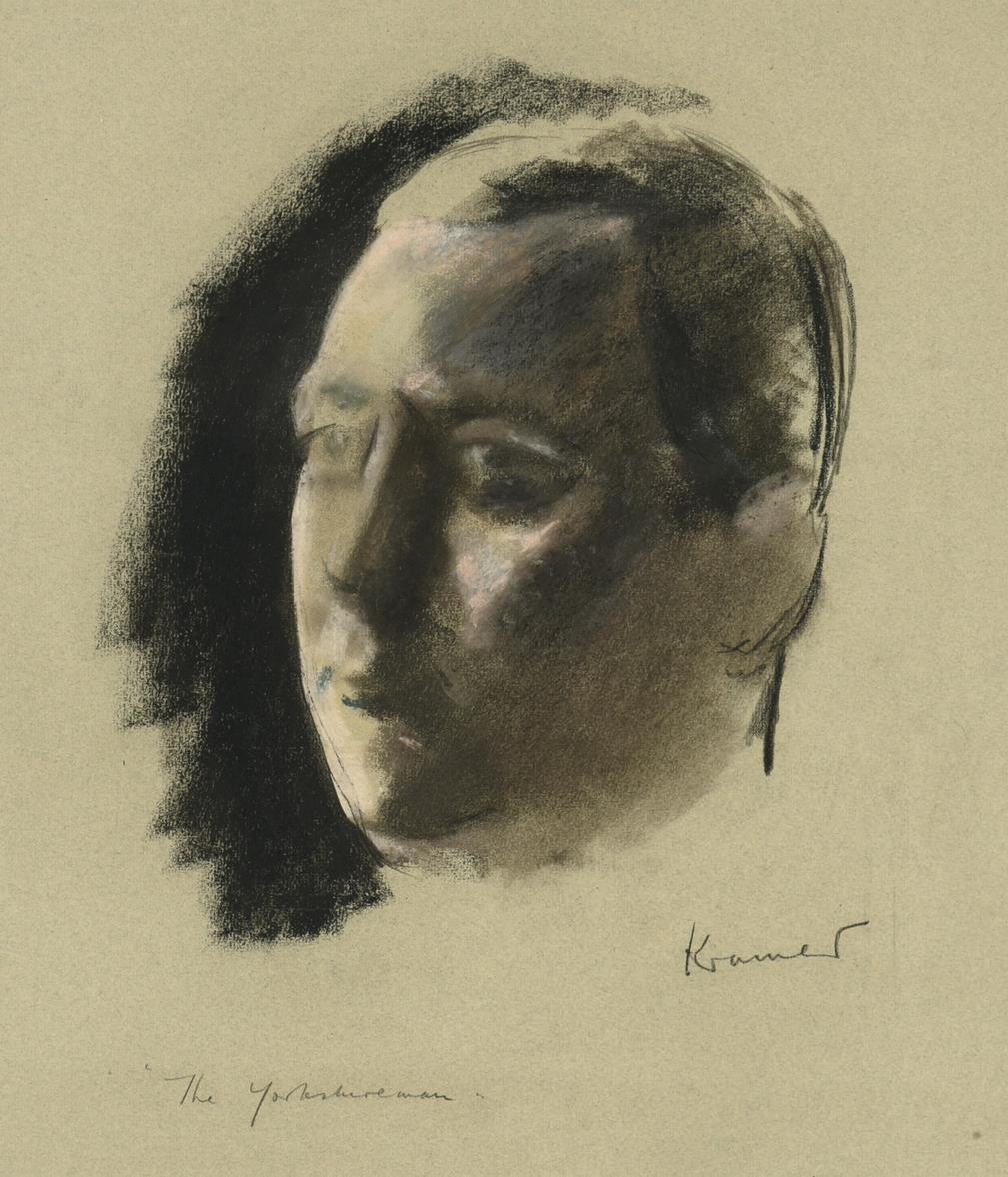 """Jacob Kramer (1892-1962) """"The Yorkshireman"""" Signed and inscribed, charcoal and chalk"""