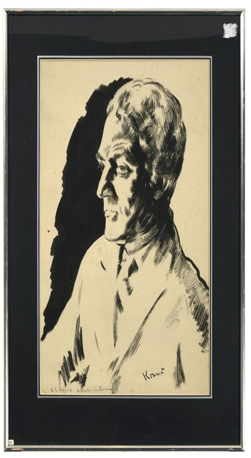 Jacob Kramer (1892-1962) ''A.E. Coppard'', Head and shoulders portrait Signed, inscribed with name - Image 2 of 3