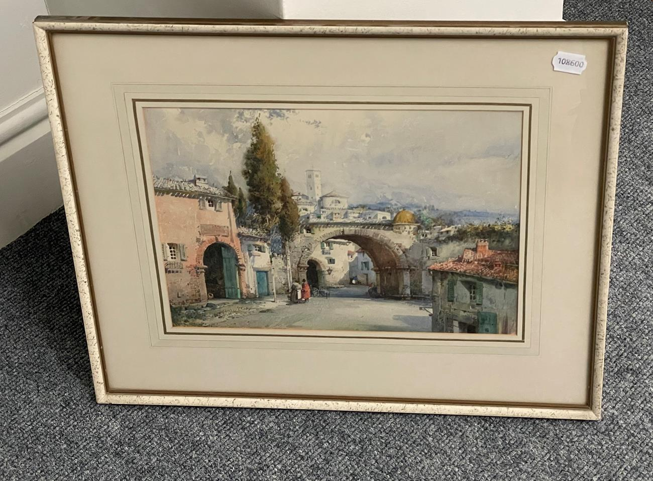 Noel Harry Leaver ARCA (1889-1951) Figures at an Italian town gateway Watercolour, together with a - Image 8 of 9