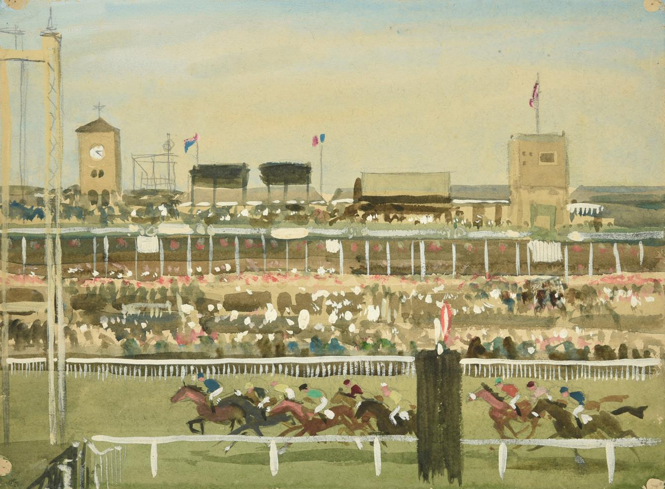 Joseph Appleyard (1908-1960) ''Doncaster, Races'' Mixed media, 28.5cm by 38.5cm (unframed) Artist'