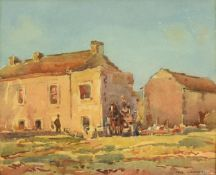 Frederick (Fred) Lawson (1888-1968) Cart horse and figures before buildings on a bright day