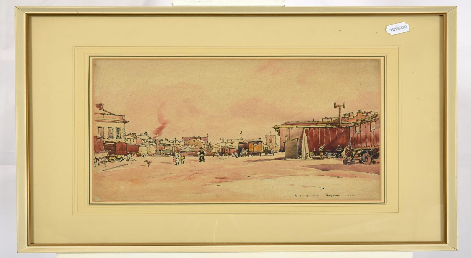 Frederick (Fred) Lawson (1888-1968) ''Leyburn'' Market Place Signed, inscribed and dated 1934, ink - Image 2 of 2