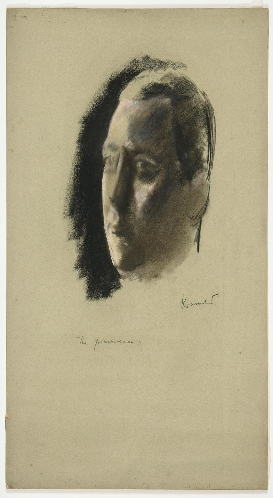 """Jacob Kramer (1892-1962) """"The Yorkshireman"""" Signed and inscribed, charcoal and chalk - Image 2 of 2"""