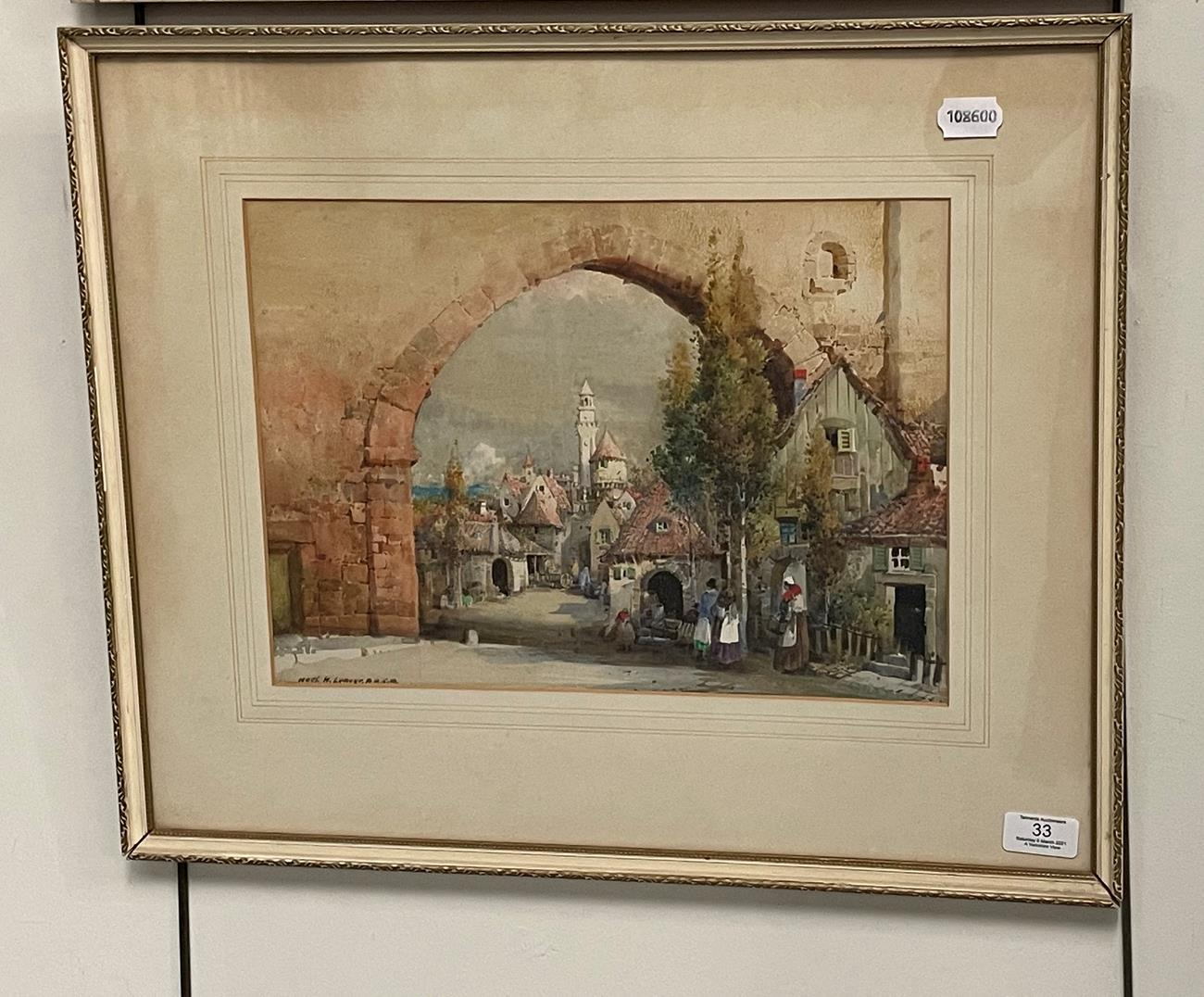 Noel Harry Leaver ARCA (1889-1951) Figures at an Italian town gateway Watercolour, together with a - Image 6 of 9