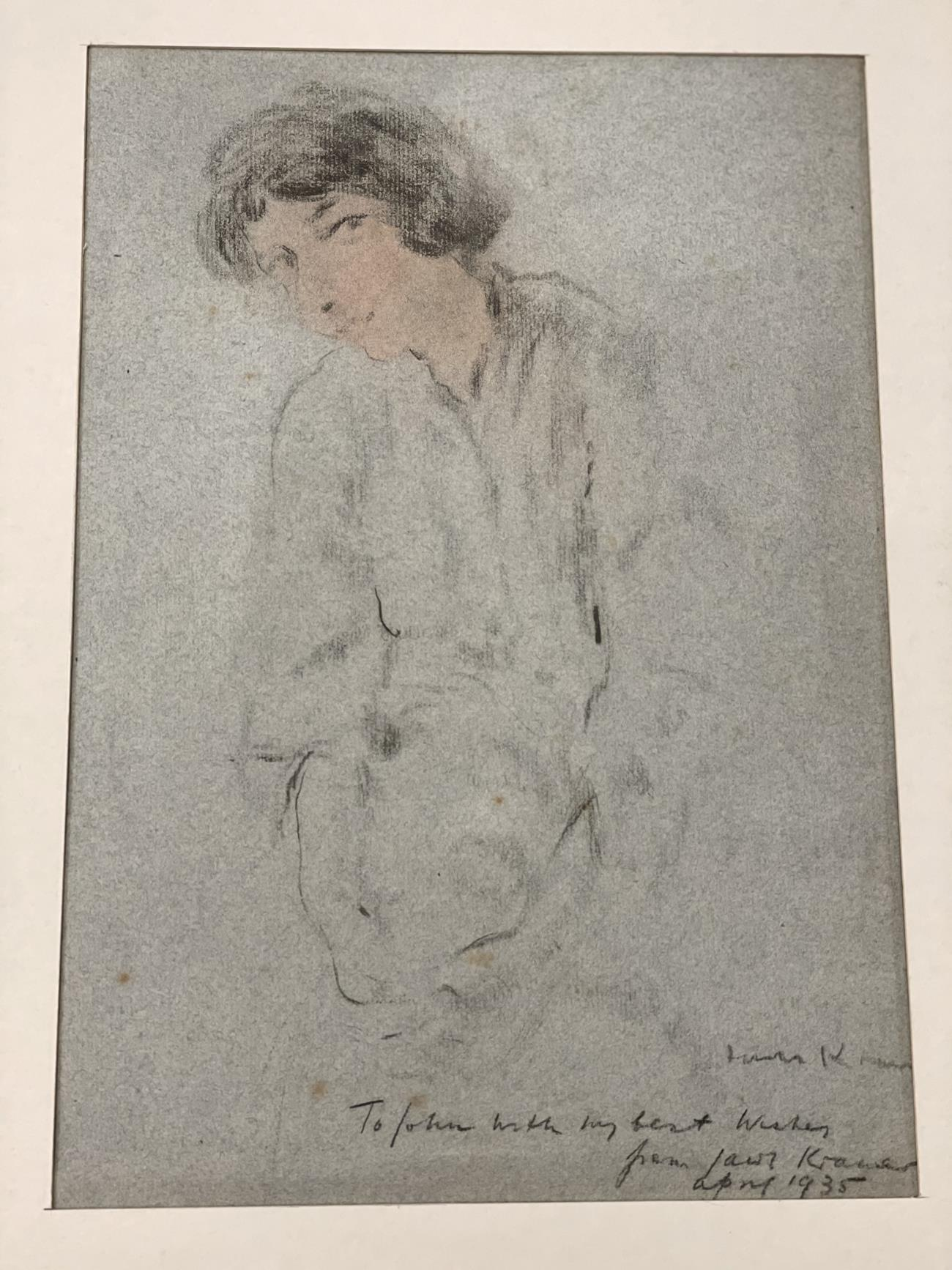 Jacob Kramer (1892-1962) ''Evelyn Williams'', Head portrait study Signed, inscribed with sitter - Image 7 of 8