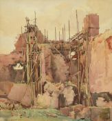 Frederick (Fred) Lawson (1888-1968) Repairs to Middleham Castle Signed, pencil and watercolour, 34cm