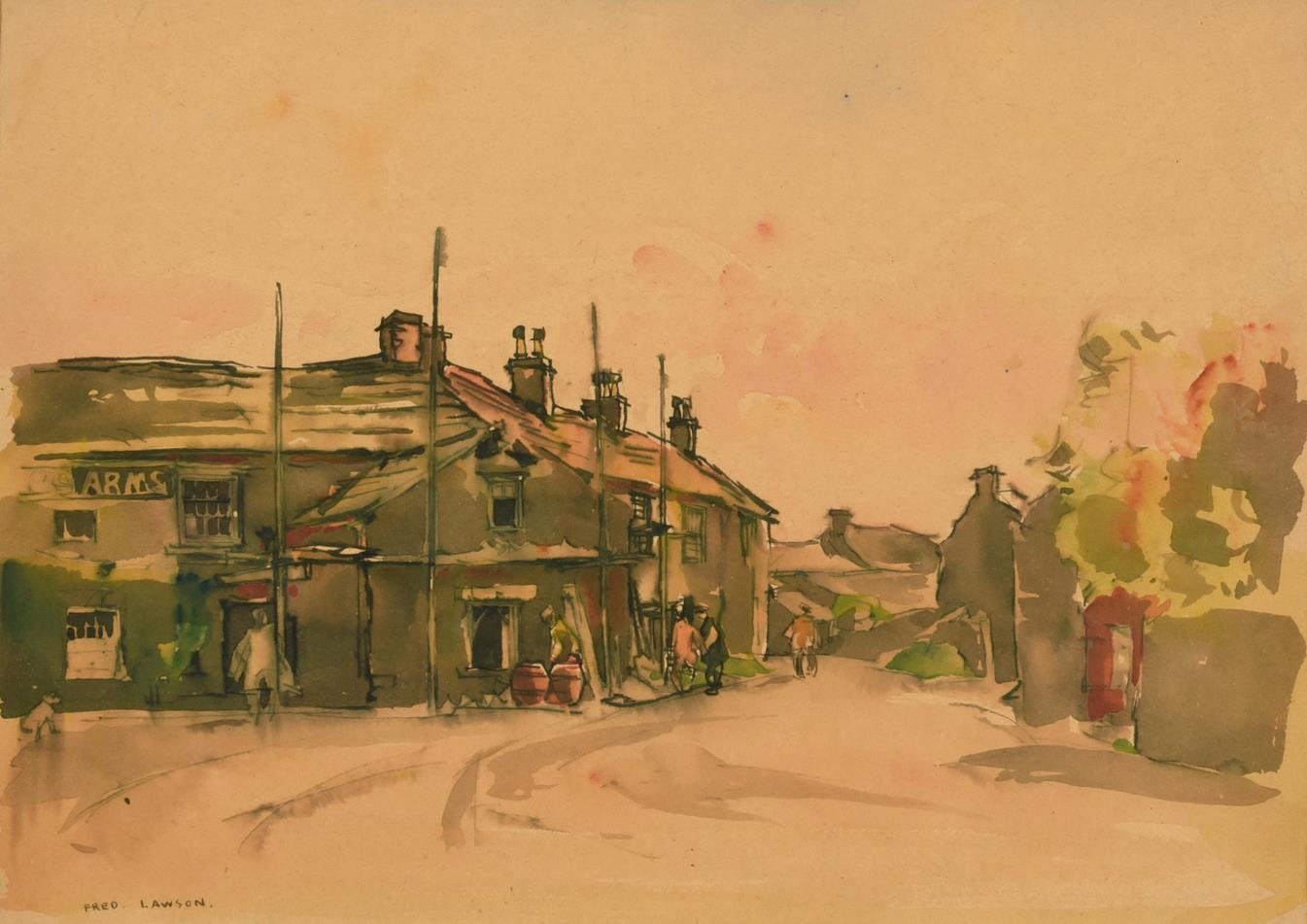 Frederick (Fred) Lawson (1888-1968) Kings Arms Redmire Signed, ink and watercolour, together with