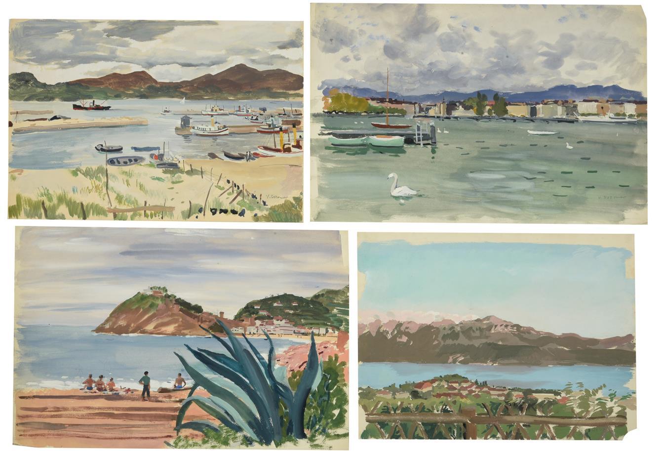 Valerie Sozonov (1899-1960) British/Russian ''Vigo, Spain'' Signed, inscribed verso, pencil and