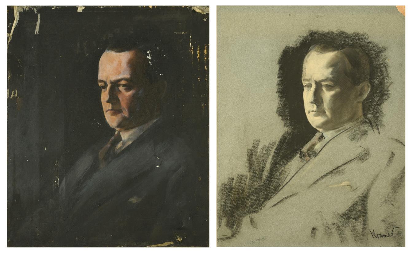 Jacob Kramer (1892-1962) Portrait of George Hopkinson, head and shoulders, wearing a black suit