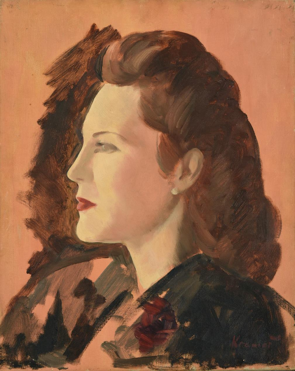 Jacob Kramer (1892-1962) ''Miss Joyce Heron'', head and shoulders portrait sketch in profile Signed,