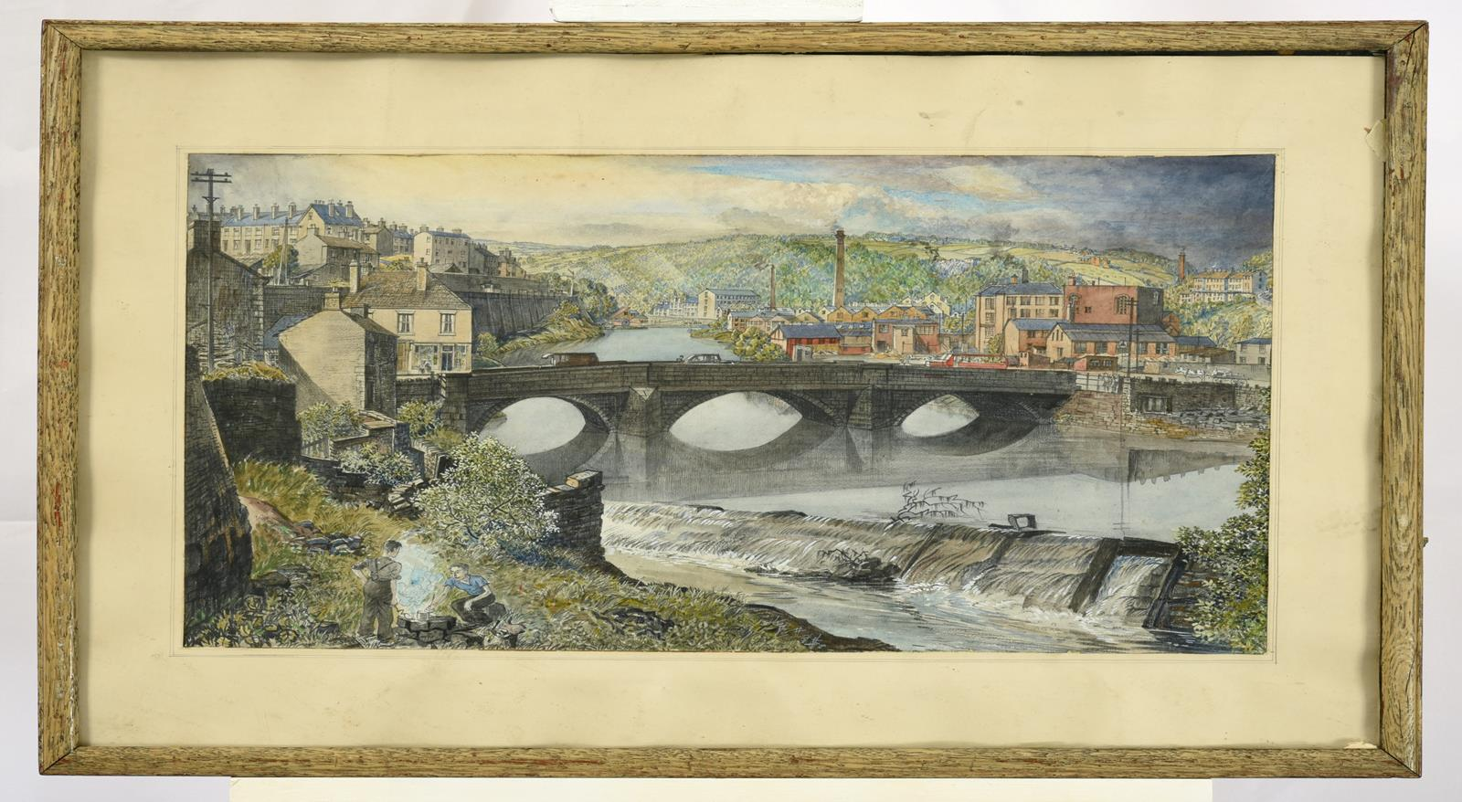 Frederick (Fred) Cecil Jones RBA (1891-1966) ''In the Lower Calder Valley'' Inscribed verso with - Image 2 of 2