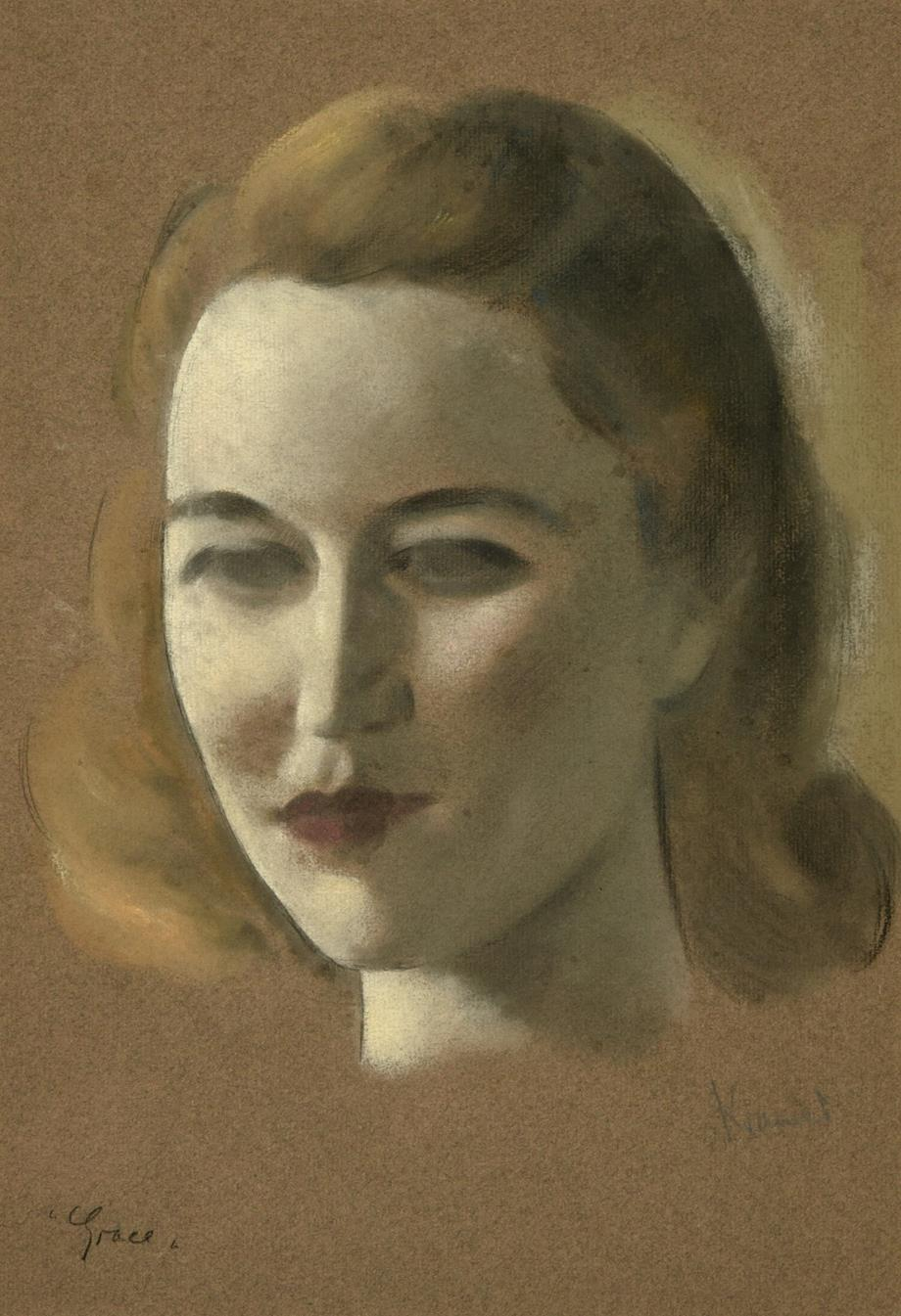 Jacob Kramer (1892-1962) ''Grace'' Signed and inscribed, chalk or pastel on buff paper, 37cm by 25.