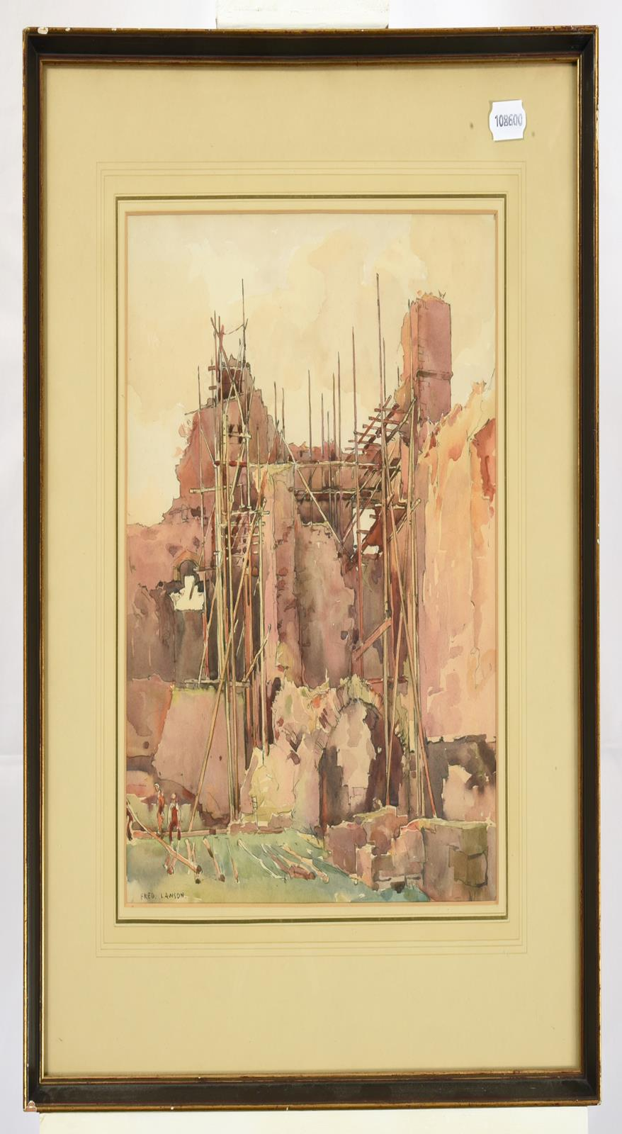Frederick (Fred) Lawson (1888-1968) Repairs to Middleham Castle Signed, pencil and watercolour, 34cm - Image 2 of 3