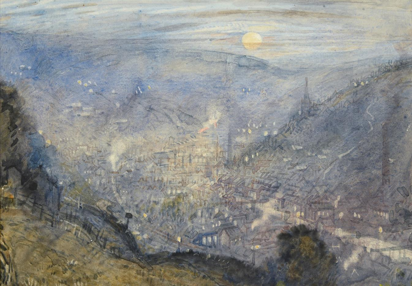 Attributed to Frederick (Fred) Cecil Jones RBA (1891-1966) ''Moonrise Todmorden'' Inscribed and