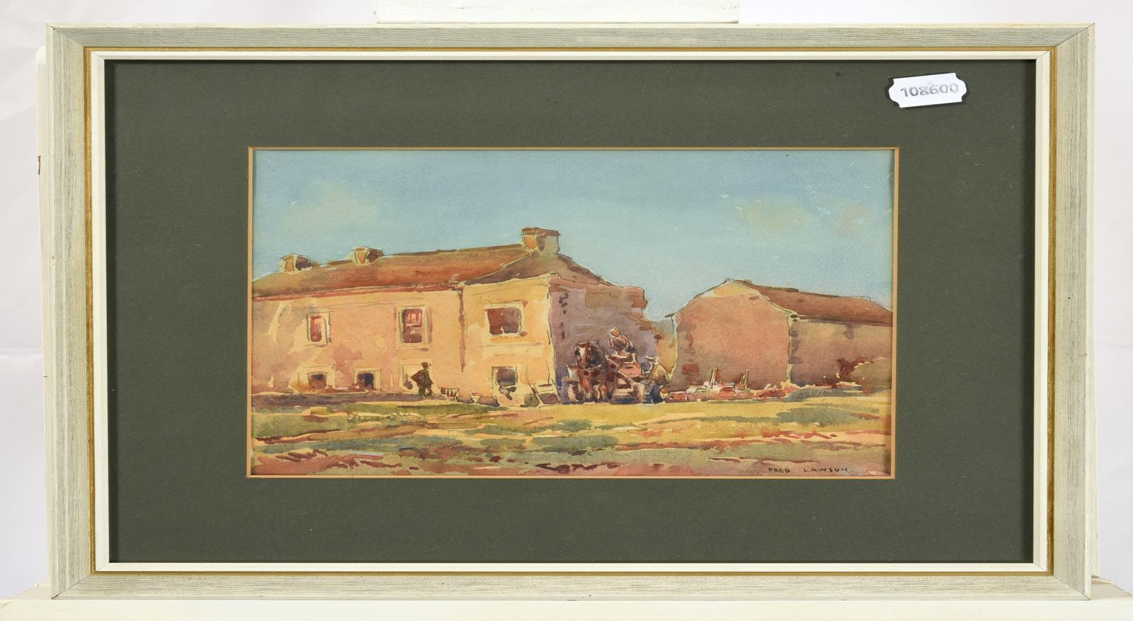 Frederick (Fred) Lawson (1888-1968) Cart horse and figures before buildings on a bright day - Image 2 of 3