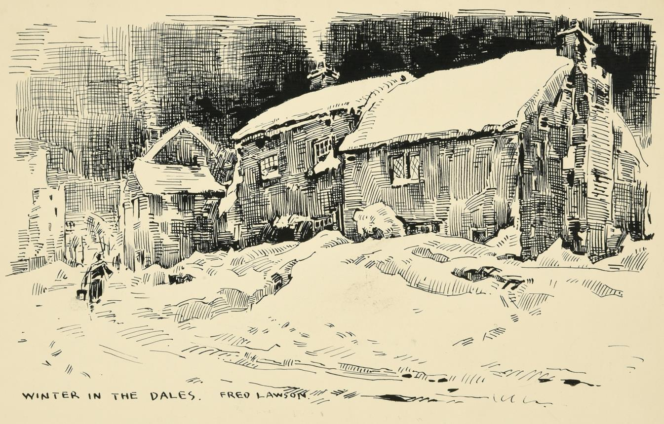 Frederick (Fred) Lawson (1888-1968) Kings Arms Redmire Signed, ink and watercolour, together with - Image 2 of 2