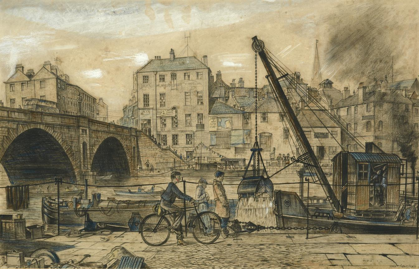 Frederick (Fred) Cecil Jones RBA (1891-1966) ''York'' Signed, inscribed and dated 1943, mixed media,